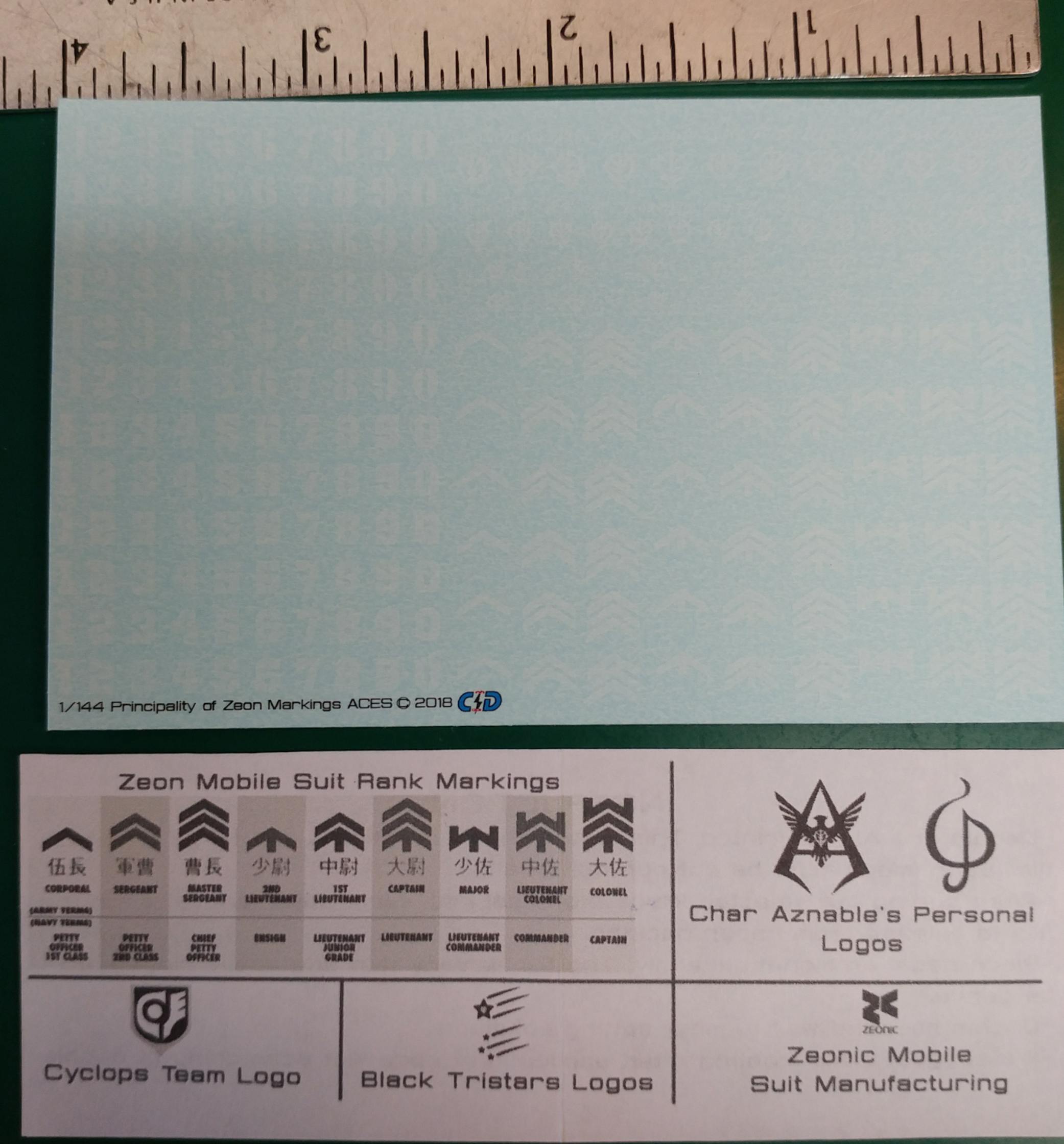 1/144 Principality of Zeon Rank Decals (White)